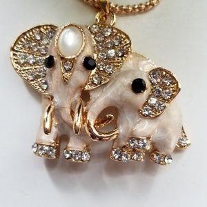 Tan & White Enamel Mama & Baby Elephant Necklace